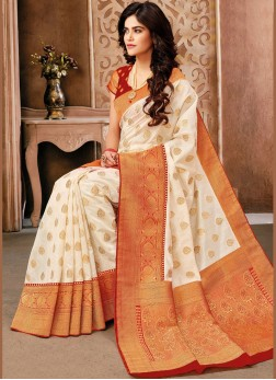 Art Silk Red and White Weaving Traditional Designer Saree