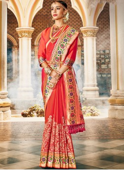 Red banarasi silk saree Online with blouse