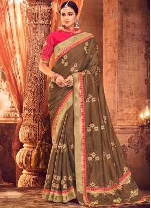 Art Silk Resham Classic Saree in Brown
