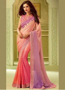 Art Silk Resham Classic Saree in Pink
