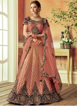Art Silk Resham Lehenga Choli in Peach