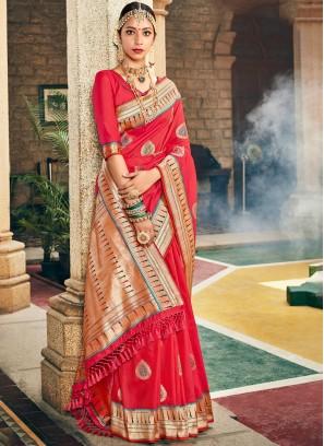 Art Silk Rose Pink Weaving Designer Banarasi Saree