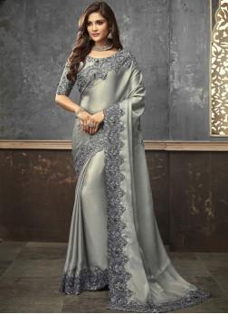 Art Silk Stone Work Trendy Saree in Grey