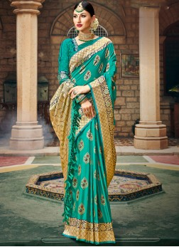 Art Silk Teal Weaving Designer Saree