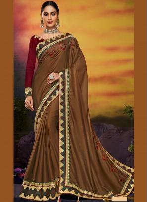 Art Silk Traditional Designer Saree in Brown