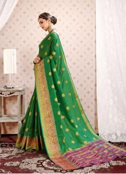 Art Silk Traditional Designer Saree in Green