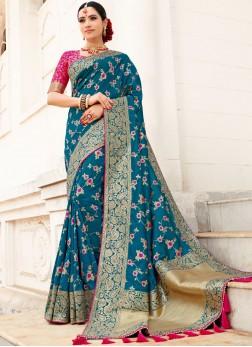 Art Silk Weaving Designer Traditional Saree in Teal