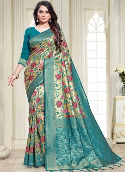 Art Silk Weaving Traditional Saree in Multi Colour