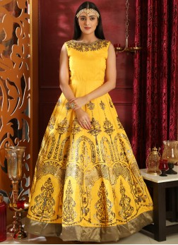 Art Silk Yellow Resham Designer Gown
