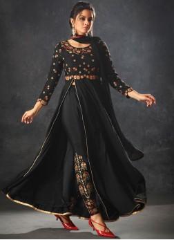 Art Silk Zari Black Pant Style Suit