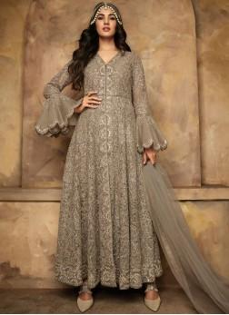 Aspiring Net Embroidered Grey Anarkali Salwar Suit