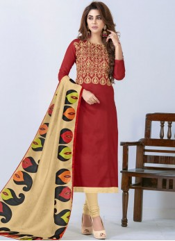 Astonishing Embroidered Red Churidar Salwar Suit