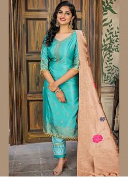 Astonishing Embroidered Sea Green Jacquard Designer Pakistani Salwar Suit