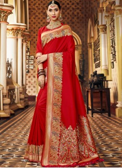 Astonishing Red Bridal Banarasi Saree with blouse