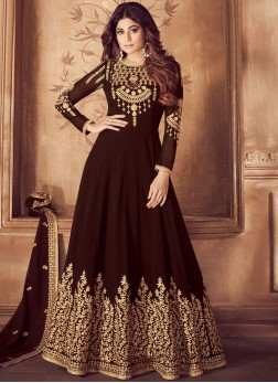 Astounding Brown Sangeet Anarkali Salwar Suit