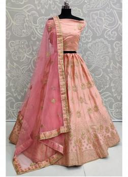 Astounding Engagement Wear Embroidery Work On Lehenga Choli In Pink