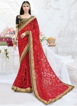 Astounding Net Patch Border Red Classic Designer Saree