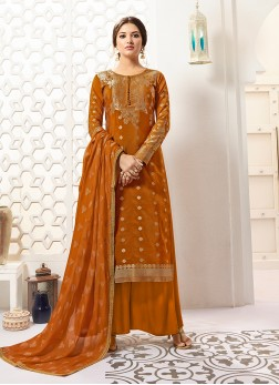 Astounding Weaving Rust Designer Palazzo Salwar Kameez