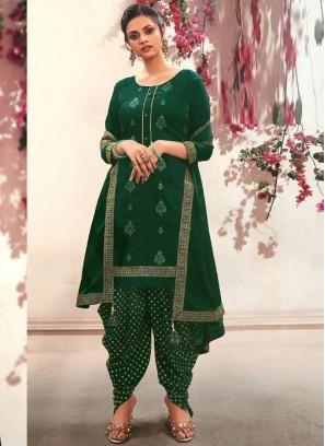 Attirement Fancy Wear Patiala Style Salwar Suit On Green