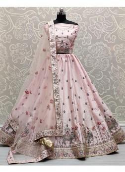 Attraction Bridal Dori & Thread Work On Silk Lehenga Choli In Pink