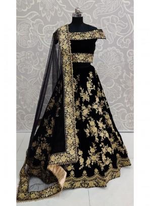 Attractive Black Designer Multi Thread Work Lehenga Choli And Blouse