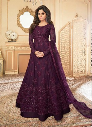 Attractive Butterfly Net Wine Emboidery Suit With Dupatta