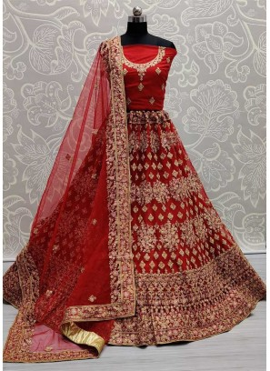 Attractive Embroidered Net Lehengacholi  In Red