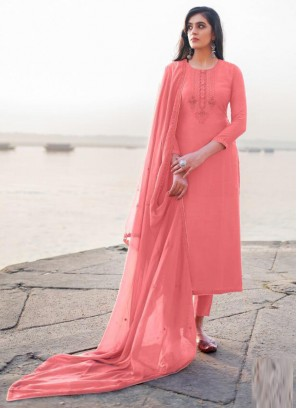Attractive Embroidery Georgette Pant Style Salwar Suit In Pink