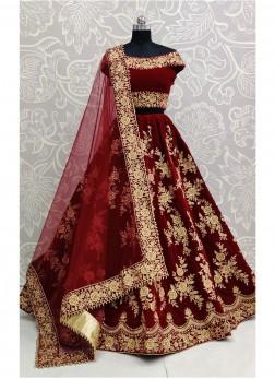 Attractive Maroon Designer Multi Thread Work Lehenga Choli And Blouse