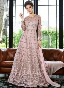 Attractive Net Embroidered Pink Anarkali Salwar Suit