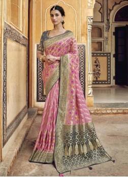 Attractive Pink & Gray Designer Pure Dola Silk Saree