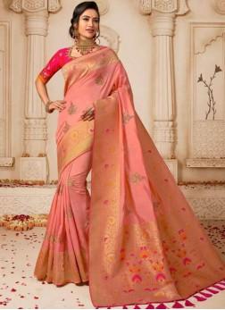 Attractive Pink Wedding Traditional Saree