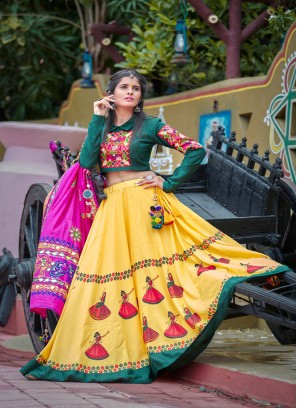 Attractive Pure cotton multi color navratri lehengacholi