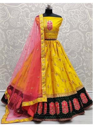 Attractive Sober and Closely Detailed Silk Multi Colour Lehenga Choli