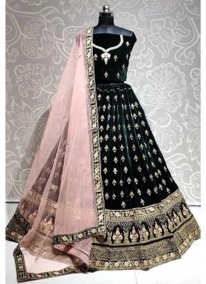 Attractive Wedding Wear Embroidery Work On Lehenga Choli In Green