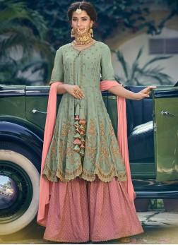 Auspicious Georgette Sea Green Embroidered Designer Palazzo Suit