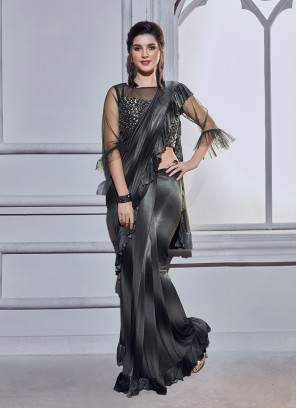 Awesome Black Embroidered Fancy Fabric Shaded Saree
