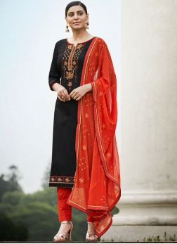 Awesome Cotton Black Embroidered Pant Style Suit