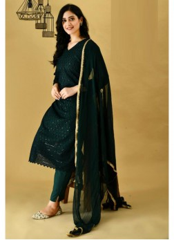 Awesome Green Cotton Kurti & Cotton Pant & Pure Chiffon Handwork Dupatta