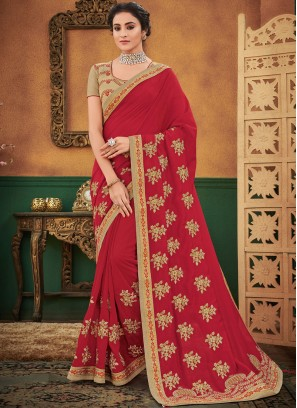 Awesome Maroon Patch Border Designer Traditional Saree
