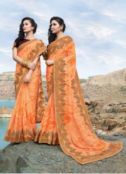 Awesome Orange Sangeet Classic Saree
