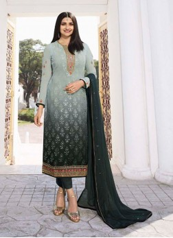 Awesome Party Wear Shaded Brasso On Salwar Kameez In Silver - Green