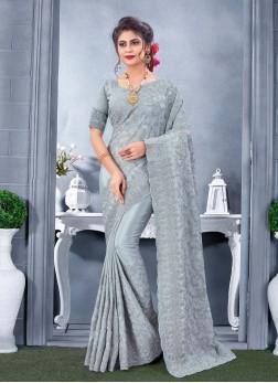 Awesome Wedding Wear Fancy Work On Saree In Grey