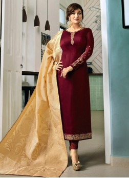 Ayesha Takia Maroon Festival Churidar Designer Suit