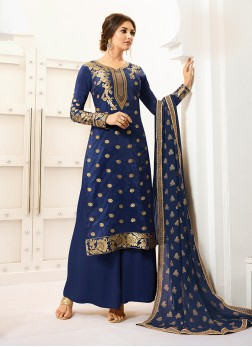 Banarasi Silk Designer Palazzo Salwar Suit in Blue