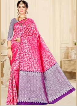 Banarasi Silk Designer Saree in Hot Pink