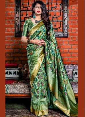 Banarasi Silk Green Woven Designer Saree
