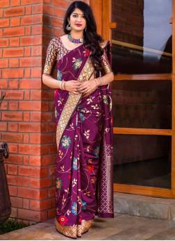 Banarasi Silk Magenta Woven Trendy Saree