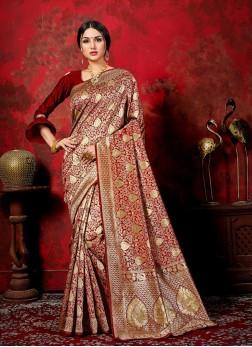 Banarasi Silk Woven Maroon Traditional Saree