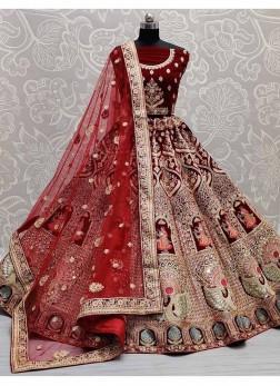 Barik Crafted Mirror Embroidery Wedding Lehenga Choli In Maroon
